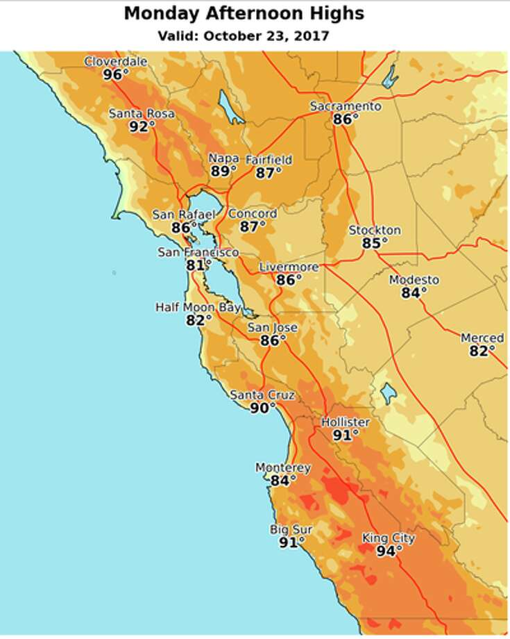 Monday afternoon highs around Northern California. Photo: National Weather Service / Sacramento
