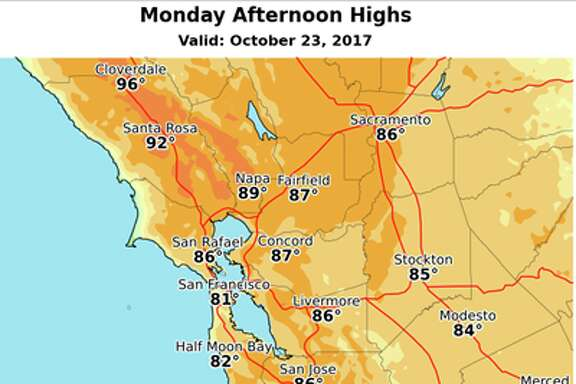 Monday afternoon highs around Northern California.
