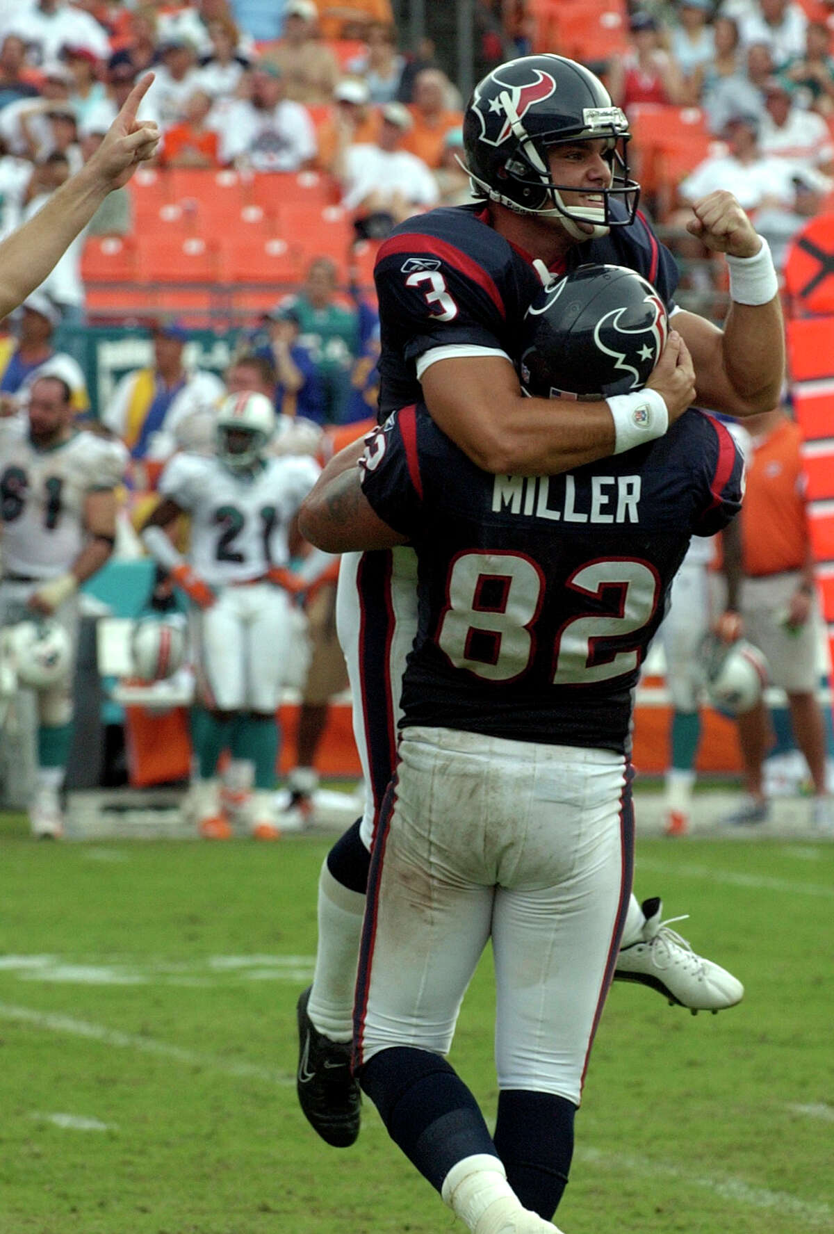 Sept. 7, 2003: Texans 21, Dolphins 20 The Texans pulled off another upset in their second season opener, beating the Dolphins on Kris Brown's 35-yard field goal with 25 seconds left.