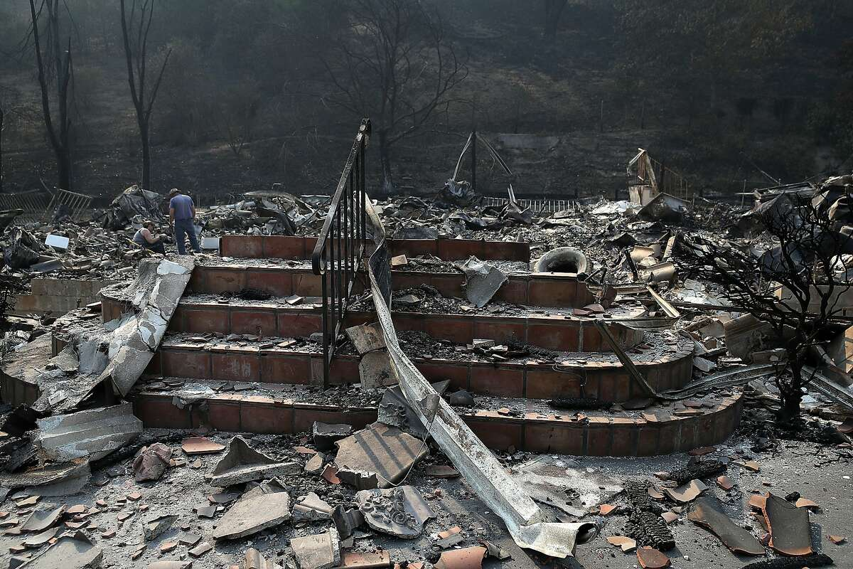 Stairs remain at a home that was destroyed by the Atlas Fire on October 13, 2017 in Napa, California.