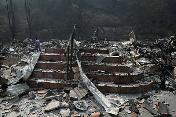 NAPA, CA - OCTOBER 13: Stairs remain at a home that was destroyed by the Atlas Fire on October 13, 2017 in Napa, California. At least thirty one people have died in wildfires that have burned tens of thousands of acres and destroyed over 3,500 homes and businesses in several Northern California counties. (Photo by Justin Sullivan/Getty Images)