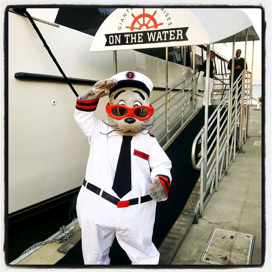 Giants mascot Lou Seal celebrates the launch of Giants Enterprises' California Spirit, which adds luxe bay excursions aboard the vessel to its arsenal of offerings. Photo: Joey Nevin