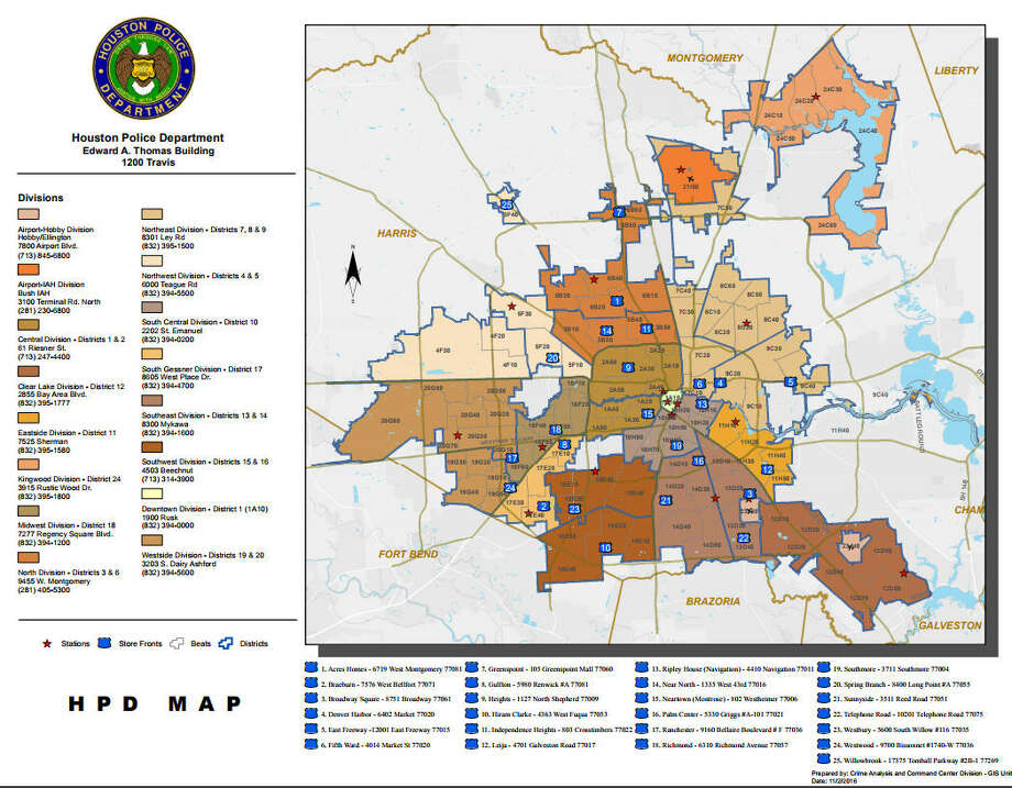 The Houston Police Department designates crime beats by neighborhood and can be seen on this map.