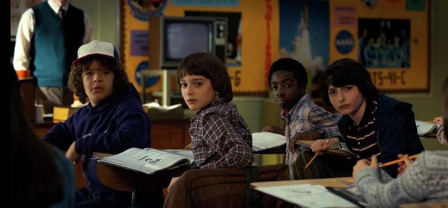 "Gaten Matarazzo, Noah Schnapp, Caleb McLaughlin and Finn Wolfhard in ""Stranger Things."" Photo: Courtesy Netflix / Netflix"