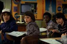 "Gaten Matarazzo, Noah Schnapp, Caleb McLaughlin and Finn Wolfhard in ""Stranger Things."""