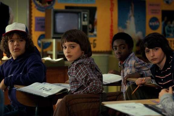 "Gaten Matarazzo, Noah Schnapp, Caleb McLaughlin and Finn Wolfhard in ""Stranger Things."""