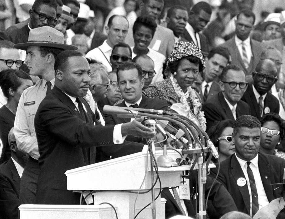 """Martin Luther King Jr. delivers his """"I Have a Dream"""" speech in Washington, D.C., in 1963. Students realize how far civil rights have advanced — and how much work remains. Photo: Associated Press File Photo / Copyright 2017 The Associated Press. All rights reserved."""