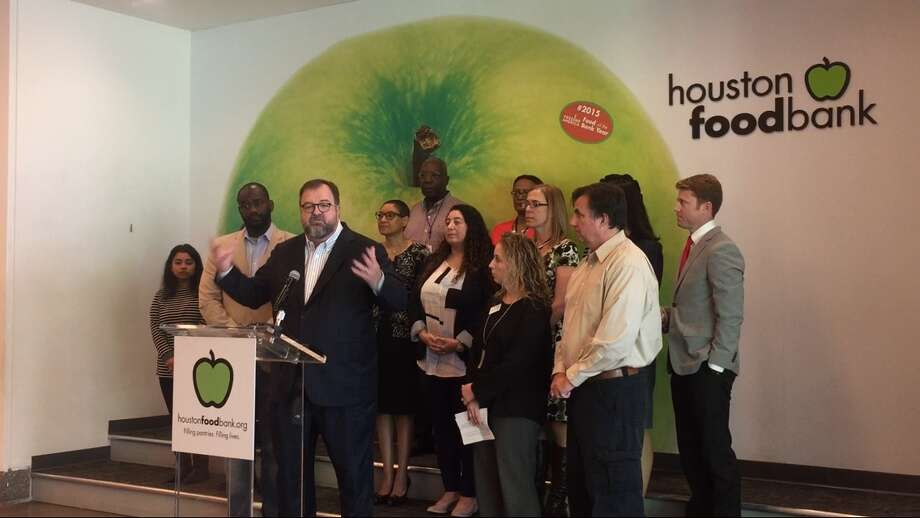Leaders of the newly formed Hurricane Harvey Children's Recovery  Collaborative announce strategies to protect the area's youngest  residents from food insecurity, housing challenges and other long-term  issues following the late-August storm during a news conference at the  Houston Food Bank on Monday, October 23, 2017. The speaker at the podium  is Dr. Bob Sanborn, President and CEO of Children at Risk. Photo: Cindy George | Houston Chronicle