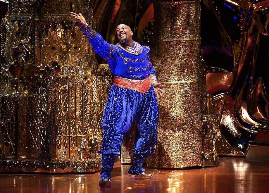"Anthony Murphy as the Genie in Disney's ""Aladdin"" at SHN's Orpheum Theatre. Photo: Deen Van Meer, Disney"