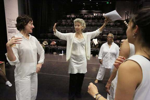 Directors Anne Bluethenthal (second from left) and Shakiri (second from right) work with  I Got a Truth To Tell cast members during rehearal at Counterpulse on Friday, October 20, 2017 in San Francisco, Calif.