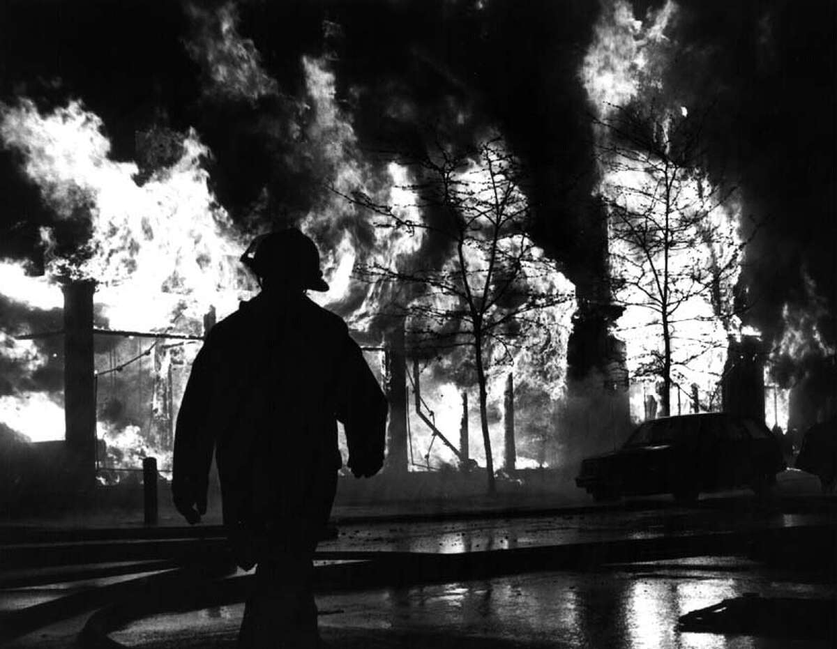 COHOES, May 15, 1988. An overnight fire that began May 15, 1988, destroyed 42 businesses and residences, and significantly damaged 19 others. The wind-whipped fire swept through a two-block area of downtown Cohoes including Remsen, Mohawk and Howard Streets, leveling Marra's Pharmacy, Cohoes Carpets and a medical office and leaving 88 people homeless.