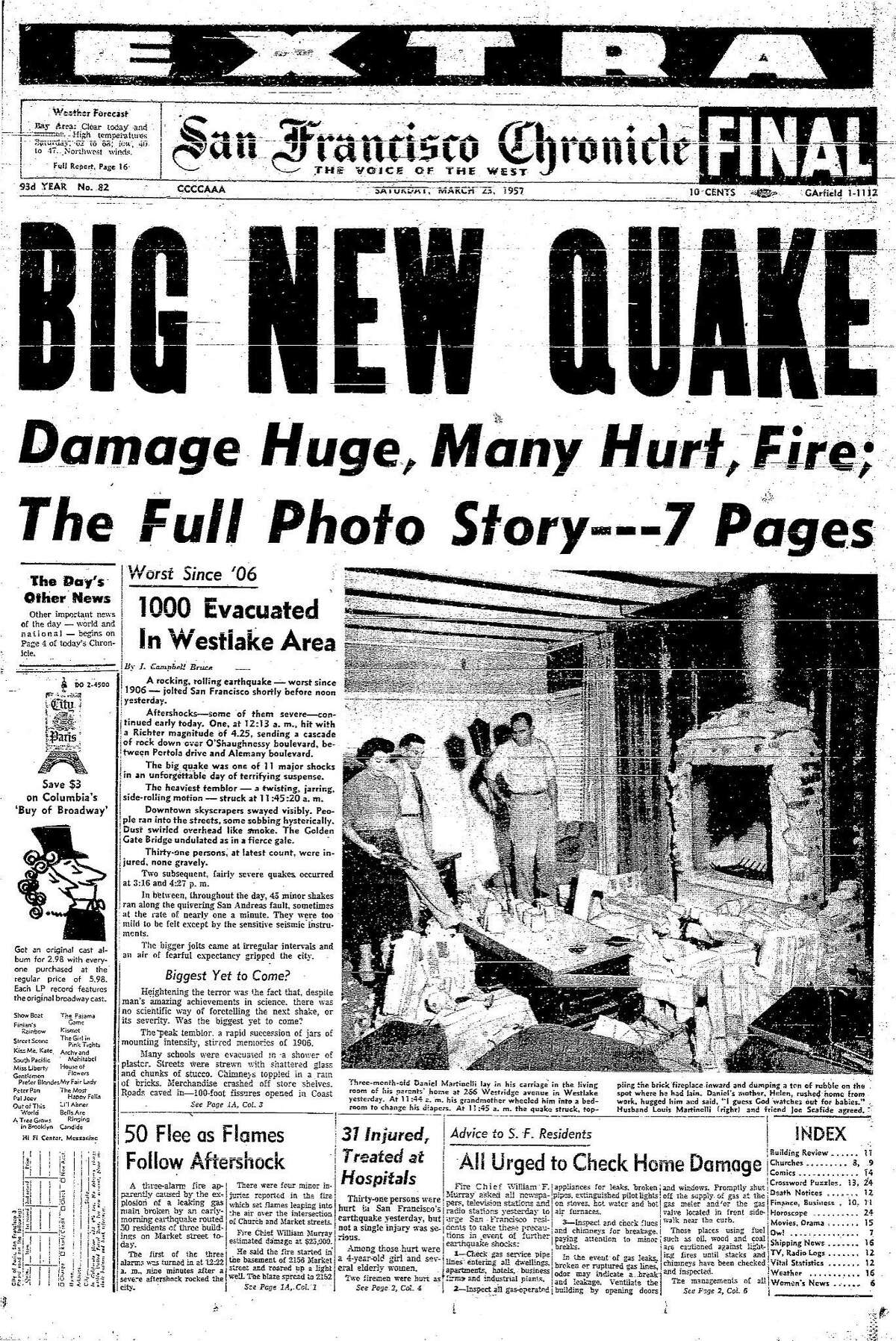 The Chronicle front page March 23, 1957, the day after the 5.3 did widespread damage