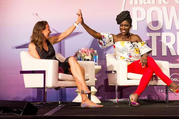 Uber Chief Brand Officer Ozoma Saint John (right) was among the high-powered women who attended Marie Claire magazine�s 36-hour women�s conference, Power Trip, Oct. 16 and 17, in San Francisco..