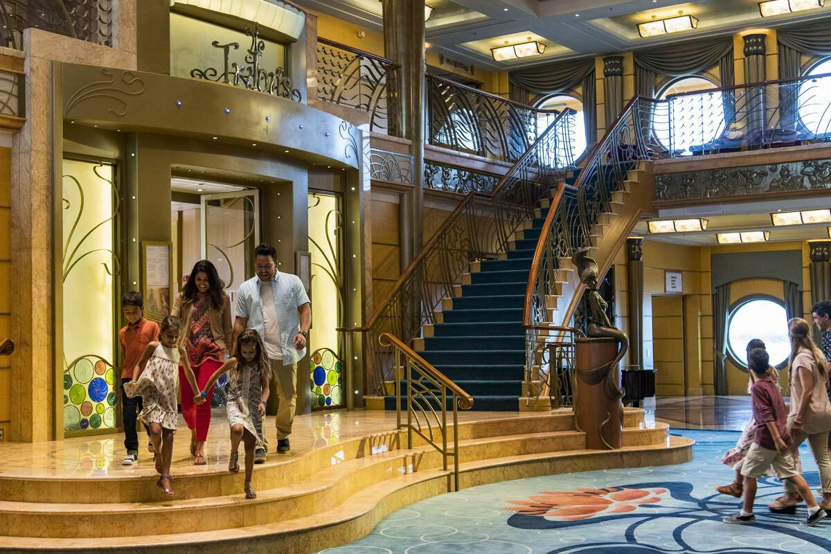The three-deck atrium lobby on the Disney Wonder features Art Nouveau-inspired details reminiscent of the Golden Age of cruising. (Matt Stroshane, photographer) Source: Disney Cruise Line