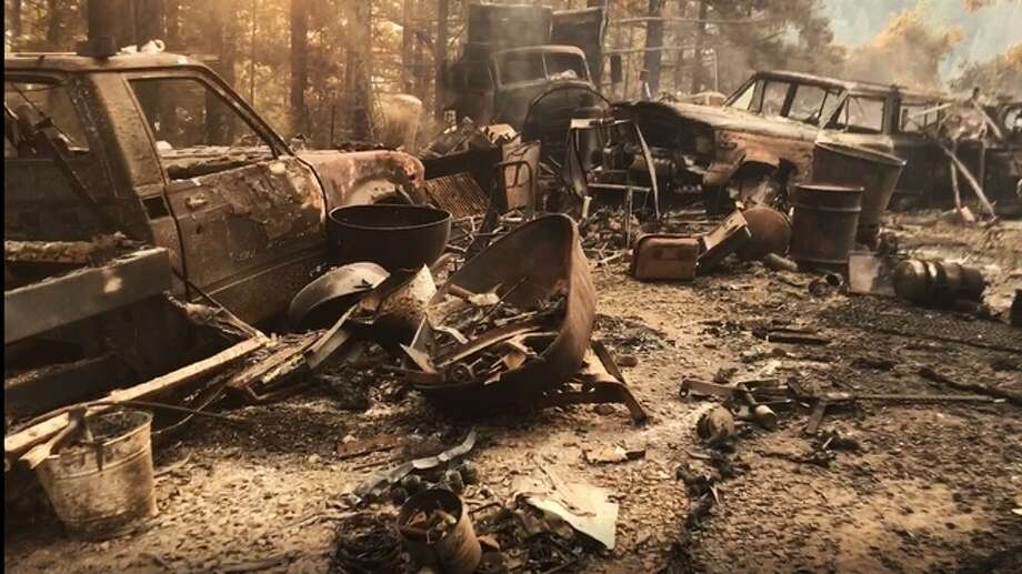 "The Bear Creek Canyon Road house that sparked the nearly 400-acre wildfire is a former vehicle ""chop shop."" Several vehicles and heavy equipment were destroyed on the property by the Bear Fire. Photo: KSBW"