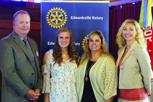 Edwardsville High School student Payton Roberts, second from left, was honored as the Edwardsville Rotary CLub's September Student of the Month.