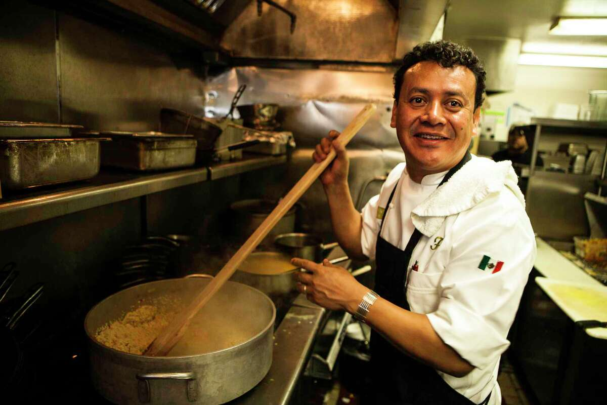 Hugo Ortega's Stuffed Poblanos with Huaxmole Rojo (pictured on page D1) is included in the cookbook.