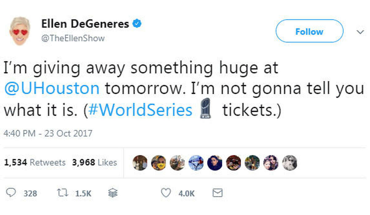Ellen DeGeneres tweeted on Oct. 23, 2017 that she is going to give away World Series tickets during her University of Houston visit on Oct. 24, 2017. Image source: Twitter