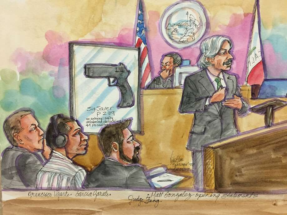 Chief Deputy Public Defender Matt Gonzalez gives his opening statements during the Jose Ines Garcia Zarate, second from left, murder trial on Monday, Oct. 23, 2017 in San Francisco, Calif.  Garcia Zarate is accused of shooting Kate Steinle in 2015. Photo: Vicki Behringer, Special To The Chronicle