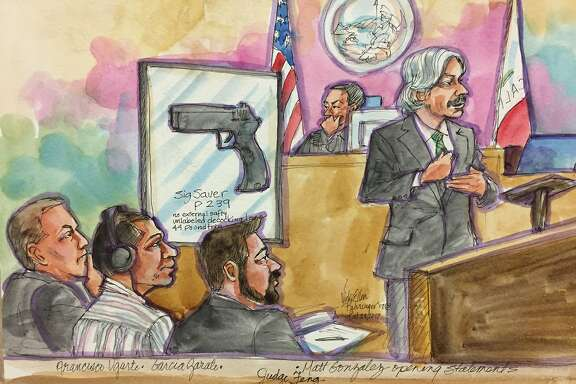 Chief Deputy Public Defender Matt Gonzalez gives his opening statements during the Jose Ines Garcia Zarate, second from left, murder trial on Monday, Oct. 23, 2017 in San Francisco, Calif.  Garcia Zarate is accused of shooting Kate Steinle in 2015.