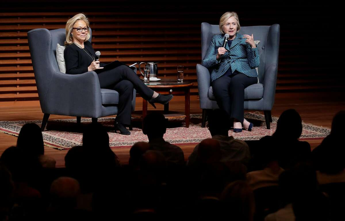 Former U.S. Secretary of State and 2016 Democratic presidential candidate Hillary Clinton, (right) in conversation with Eileen Donahoe, executive director of the Global Digital Policy Incubator, as they discuss Digital Technology, Diplomacy, and Democratic Values, at Stanford University on Fri. October 6, 2017.
