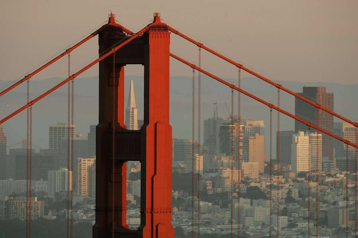 The skyline of San Francisco, California showing the Transamerica Building framed by the north tower of the Golden Gate Bridge is pictured at sunset February 27, 2008. REUTERS/Robert Galbraith (UNITED STATES)