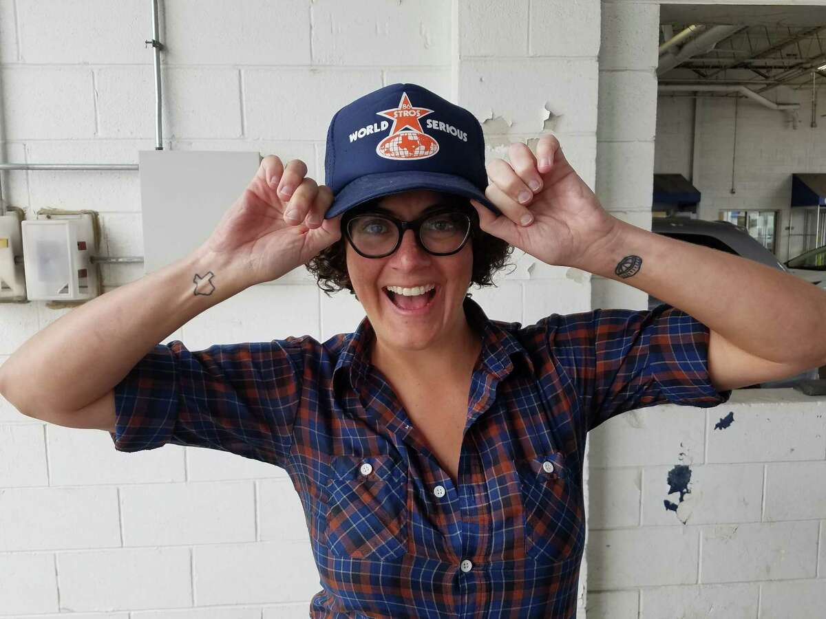 Houston comedian (and Astros fan) Dusti Rhodes with her lucky hat. Click through the gallery to see how fans celebrated the Astros ALCS victory through Instagram. And don't forget to send us your sports superstitions. The links are at the bottom of the story.