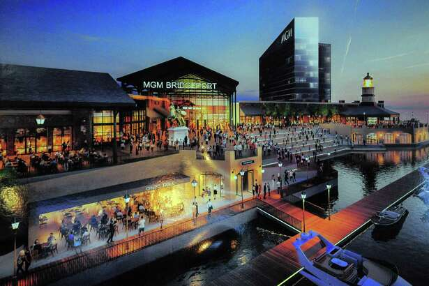A rendering of the proposed MGM casino was on display at the East End NRZ meeting with executives from MGM about plans for a casino in Bridgeport.