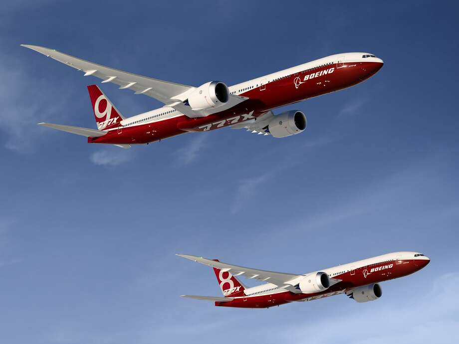 Renderings show the Boeing 777X (777-9X and 777-8X). The company officially began production Monday, Oct. 23, 2017 of what will be the test plane. Photo: Boeing