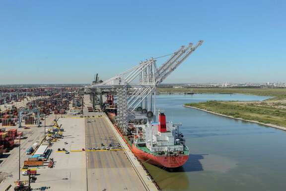 October 23, 2017:  The newly arrived giant ship-to-shore cranes are designated the numbers 205, 206 and 207 and will be docked at the Port of Houston Authority in Morgan's Point, Texas. (Leslie Plaza Johnson/Freelance