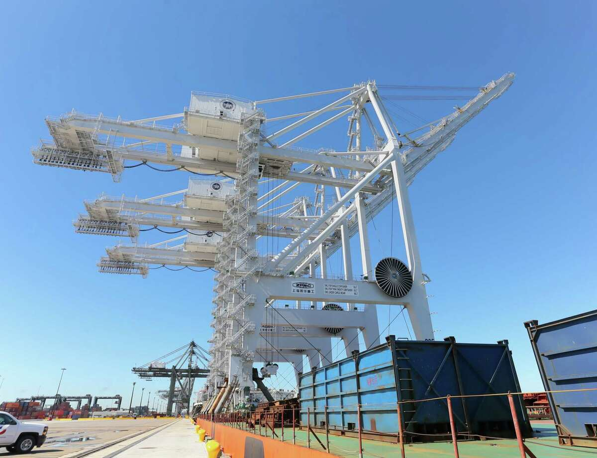 The Zhen Hua 13 brought giant ship-to-shore cranes to the Port of Houston Authority at Morgan's Point last week.