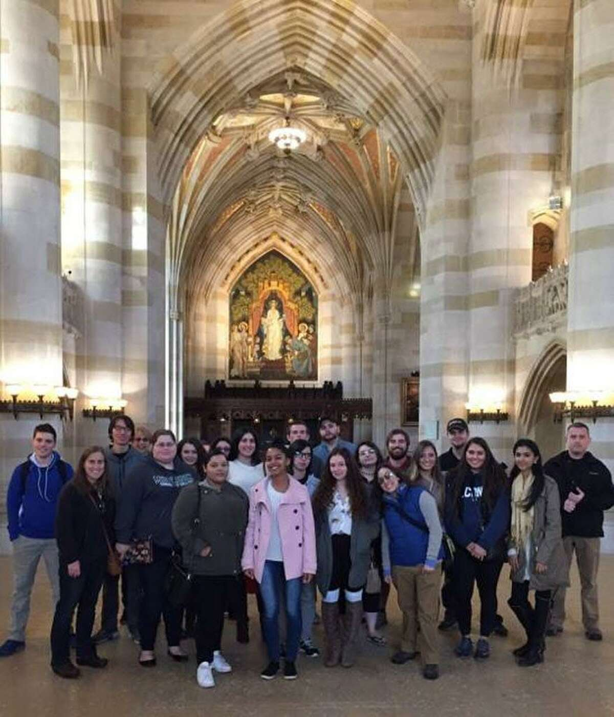Associate Professor of English Eva Jones, coordinator of the program at Middlesex Community College in Middletown, and an admissions tour guide from Yale led the students on a private tour of the main campus.