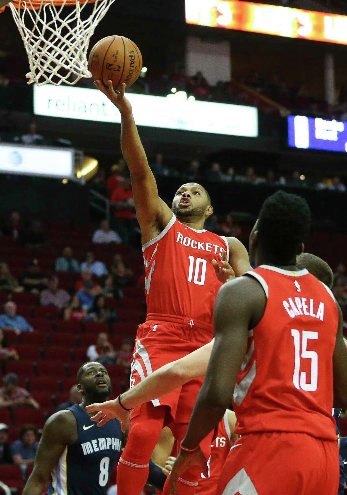 Houston Rockets guard Eric Gordon (10) goes for the basket during the first quarter of the NBA game at Toyota Center Monday, Oct. 23, 2017, in Houston.