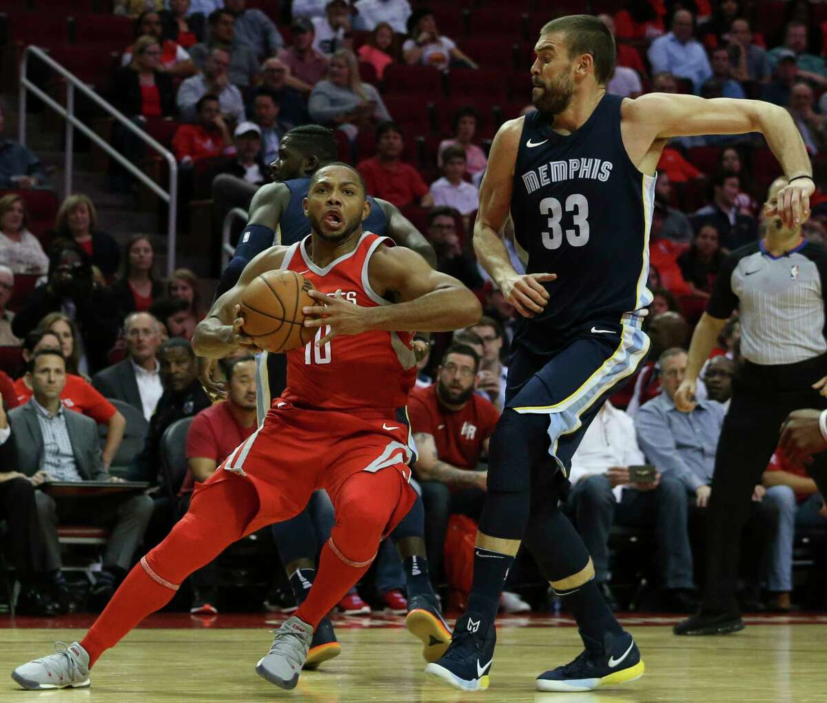 Houston Rockets guard Eric Gordon (10) moves toward the basket while Memphis Grizzlies center Marc Gasol (33) is trying to stop him during the second quarter of the NBA game at Toyota Center Monday, Oct. 23, 2017, in Houston.
