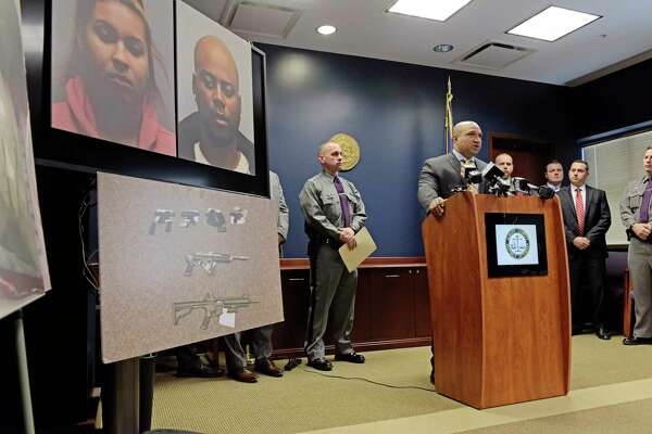 Albany County District Attorney David Soares, at podium, addresses those gathered for a press conference on a drug arrest case at the Albany County District Attorney's office on Monday, Oct. 23, 2017, in Albany, N.Y.  (Paul Buckowski / Times Union)