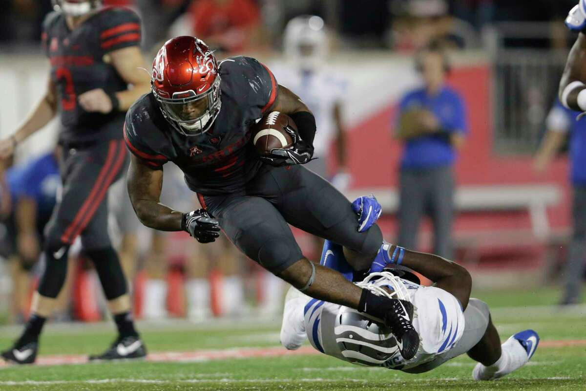 Houston running backDukeCatalonis averaging 23 carries over the last three games, and he is sure to have his number called more often in the weeks ahead in the wake of Dillon Birden's elbow injury.