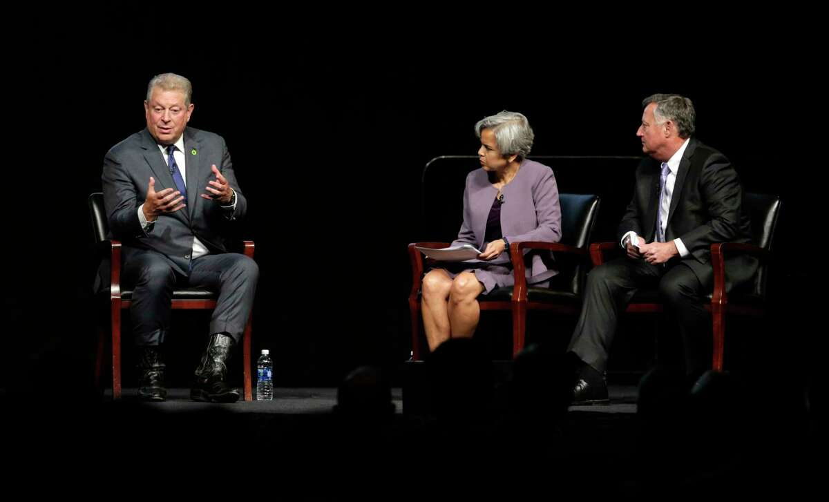 Former Vice President Al Gore responds to a question from Provost Marie Lynn Miranda and Tom Kolditz, director of the Doerr Institue for New Leaders during the question and answer segment of Gore's speech at the Tudor Fieldhouse at Rice University Oct.23, 2017, in Houston, TX. >> See 50 of the most iconic images from Hurricane Harvey...