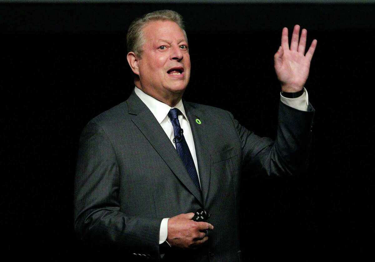 Former Vice President Al Gore speaks at Tudor Fieldhouse at Rice University Oct.23, 2017, in Houston, TX. (Michael Wyke / For the Chronicle)