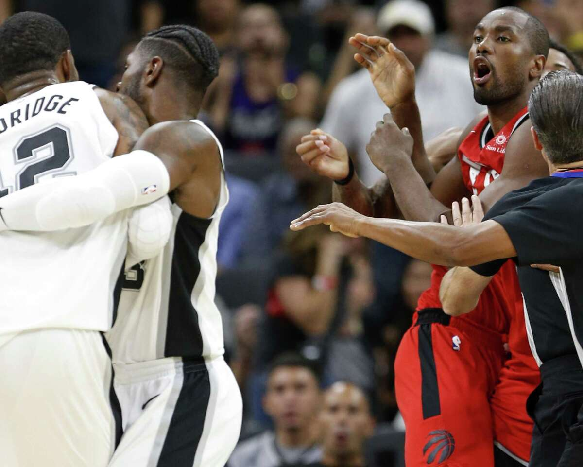 San Antonio Spurs?• LaMarcus Aldridge (left) and Toronto Raptors?• Serge Ibaka are separated after shoving each other during second half action Monday Oct. 23, 2017 at the AT&T Center. Aldridge and Ibaka received technicals on the play. The Spurs won 101-97.
