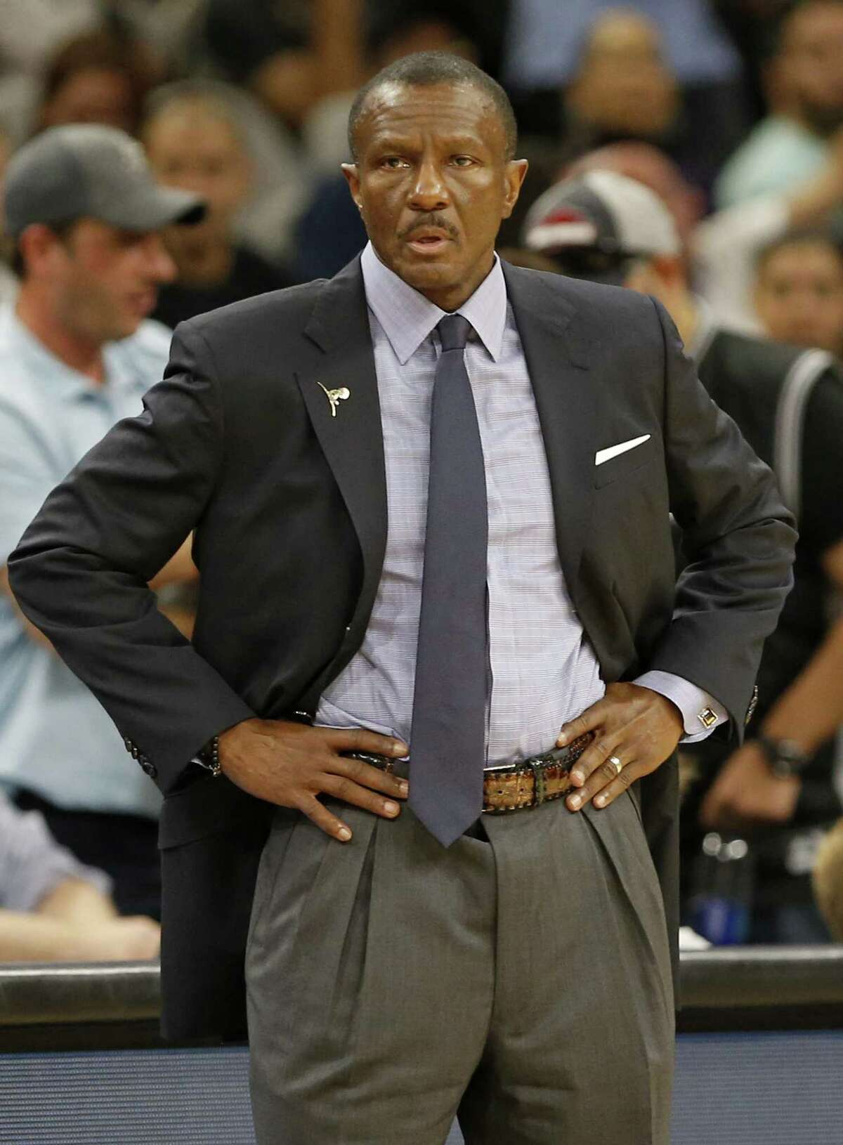 Toronto Raptors head coach Dwane Casey watches first half action against the San Antonio Spurs Monday Oct. 23, 2017 at the AT&T Center.