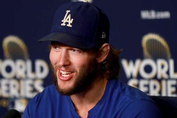 LOS ANGELES, CA - OCTOBER 23:  Clayton Kershaw #22 of the Los Angeles Dodgers answers questions from the media ahead of the World Series at Dodger Stadium on October 23, 2017 in Los Angeles, California. The Dodgers will take on the Houston Astros in the World Series as Kershaw is slated to start game one.  (Photo by Justin Heiman/Getty Images)