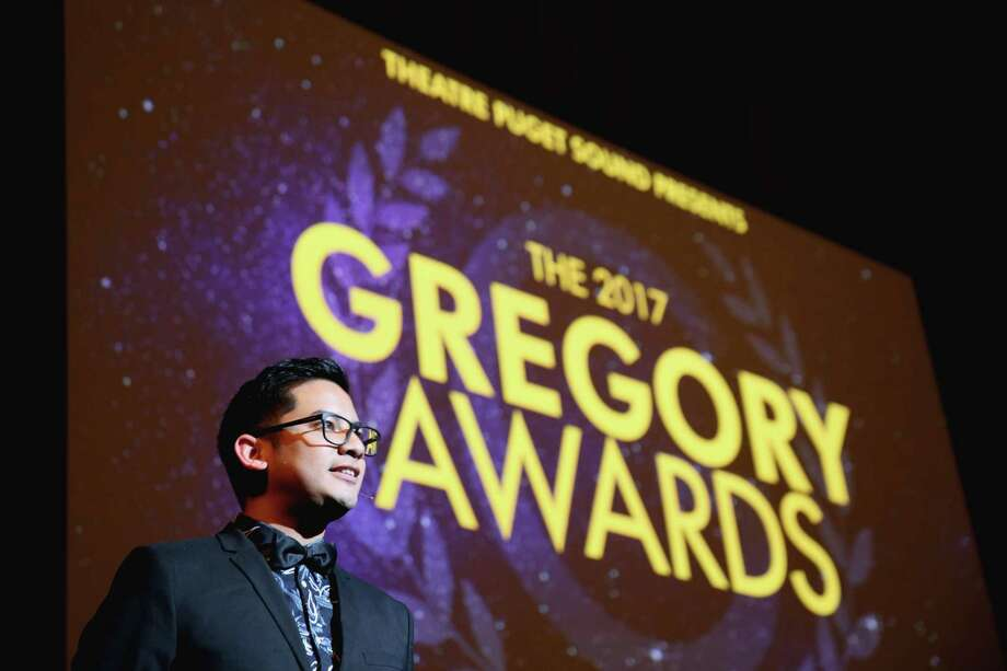 Justin Huertas hosts the ninth annual Gregory Awards, held at Marion Oliver McCaw Hall, Monday, Oct. 23, 2017. The awards show celebrates theater arts in the Seattle area. Photo: GENNA MARTIN, SEATTLEPI / SEATTLEPI.COM