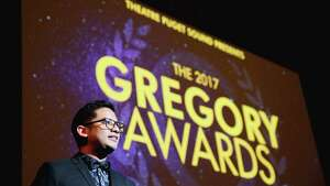 Justin Huertas hosts the ninth annual Gregory Awards, held at Marion Oliver McCaw Hall, Monday, Oct. 23, 2017. The awards show celebrates theater arts in the Seattle area.