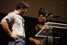 Hisam Goueli and Shermona Mitchell present an award at the ninth annual Gregory Awards, held at Marion Oliver McCaw Hall, Monday, Oct. 24, 2017. The awards show celebrates theater arts in the Seattle area.