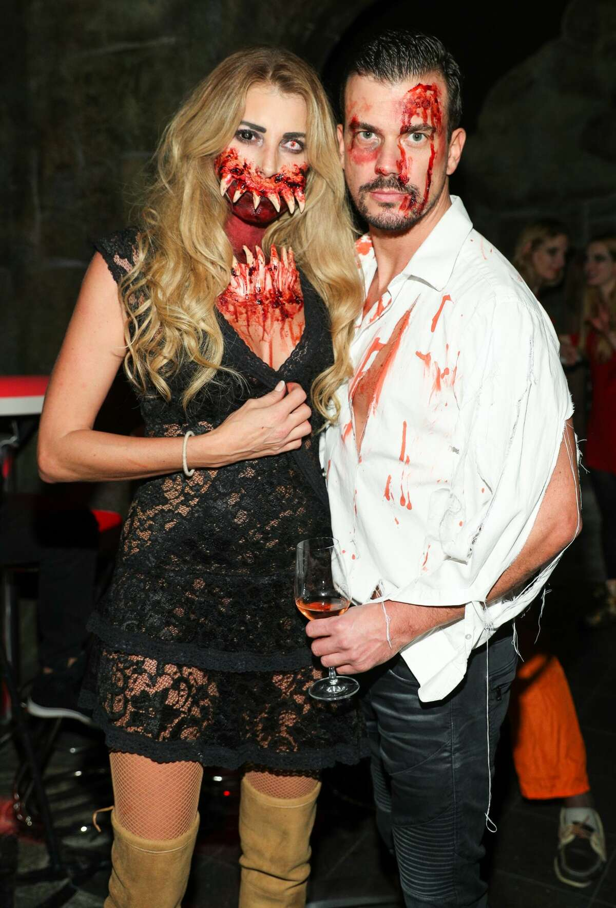 Giulia Siegel and Ludwig Heer attend the Halloween party hosted by Natascha Ochsenknecht at Berlin Dungeon on October 23, 2017 in Berlin, Germany.