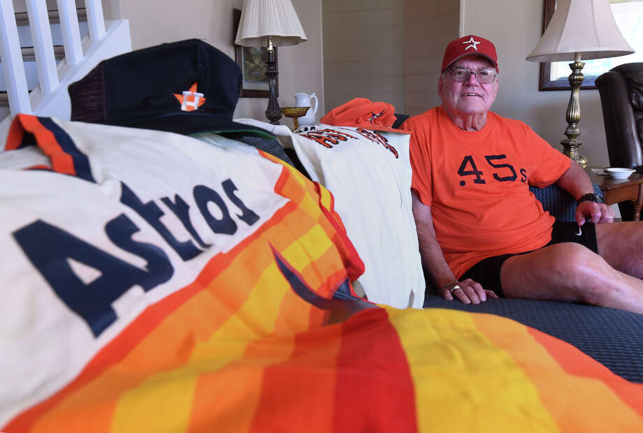 Hebert 'Butch' Troy of Port Neches played baseball for the Houston Colt .45s in the 1960s and later served the Astros as a scout. Troy sits at his home on Monday next to the uniform he wore while scouting. The Colt .45s change their name to the Astros in December of 1964. Photo taken Monday, October 23, 2017 Guiseppe Barranco/The Enterprise Photo: Guiseppe Barranco, Photo Editor / Guiseppe Barranco ©