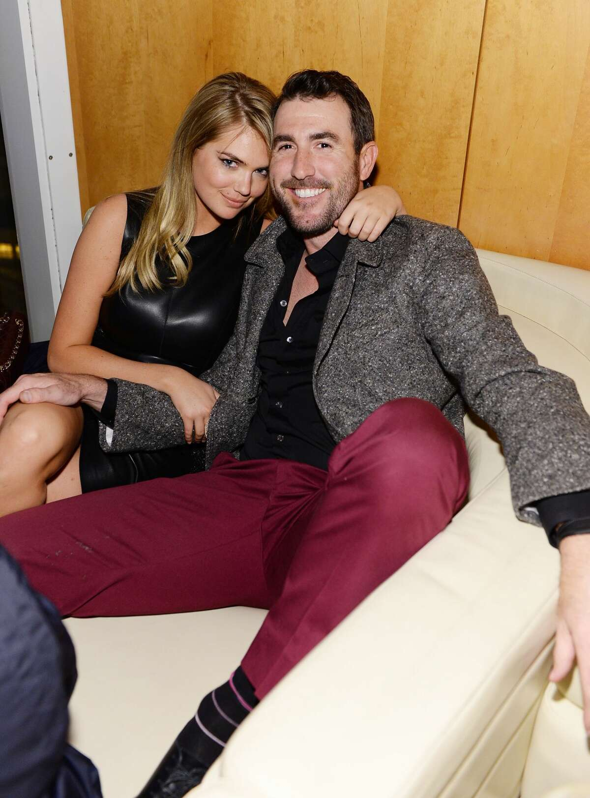 Model Kate Upton and professional baseball player Justin Verlander attend the GQ Super Bowl Party 2014 sponsored by Patron Tequila, Van Heusen, and Miller Fortune on January 31, 2014 in New York City.