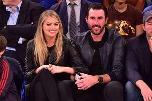 NEW YORK, NY - OCTOBER 29:  Kate Upton and Justin Verlander attend the Atlanta Hawks vs New York Knicks game at Madison Square Garden on October 29, 2015 in New York City.