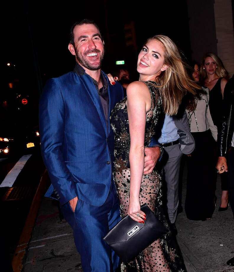 Happy birthday Kate Upton! The model and wife of Houston Astros pitcher Justin Verlander turns 27 on Monday. NEW YORK, NY - JUNE 08:  Justin Verlander and Kate Upton celebrate her birthday at The Blond at 11 Howard Hotel on June 8, 2016 in New York City. Photo: James Devaney/WireImage