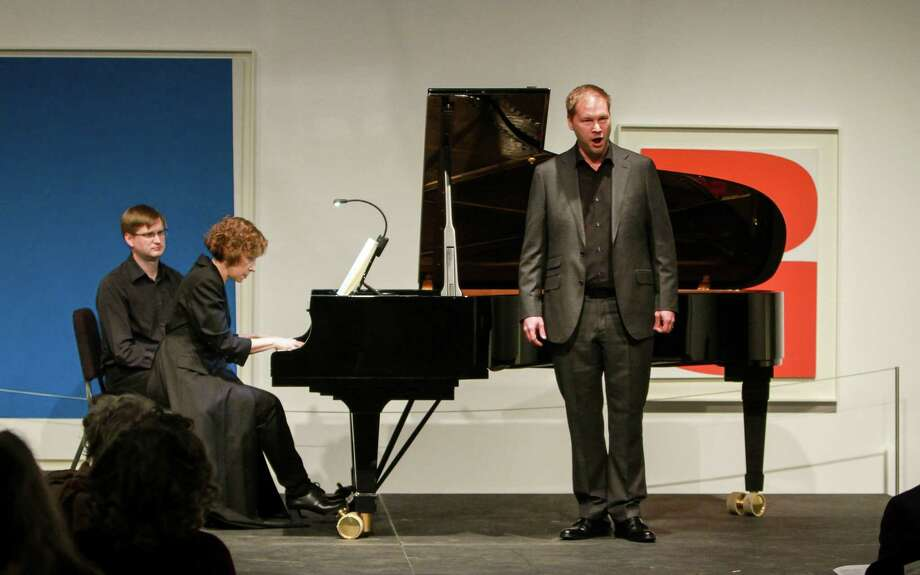 "Sarah Rothenberg, piano, and Tyler Duncan, baritone, perform ""Die Winterreise"" at The Menil Collection. Page turner Craig Hauschildt is on the left. Photo: Gary Fountain, For The Chronicle / Copyright 2017 Gary Fountain"